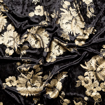 Black Stretch Velour with Metallic Gold Floral Foil