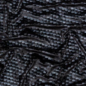 Black Stretch Velour with Metallic Slate Foil Checks