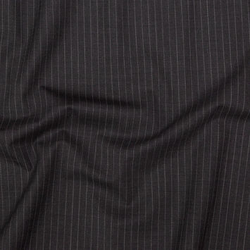 Italian Charcoal and White Pinstriped Stretch Virgin Wool Suiting