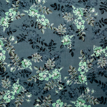 Indian Teal and Green Digital Floral Printed Silk Charmeuse