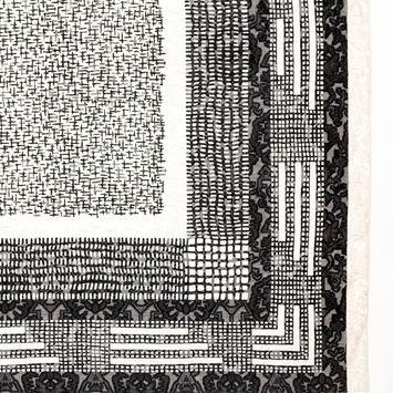 Metallic Black and White Square Silk Burnout Jacquard Panel