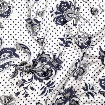 White, Midnight Navy and Silver Damask and Polka Dotted Silk Charmeuse