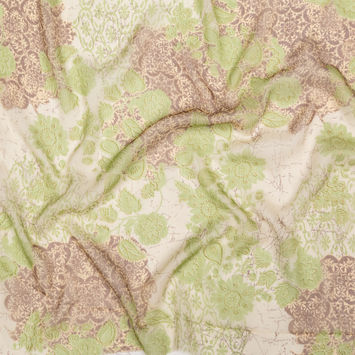 Green, Brown and Metallic Gold Floral Crinkled Silk Chiffon