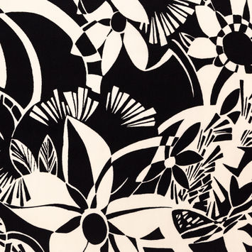 Black and Ivory Floral Silk Crepe de Chine