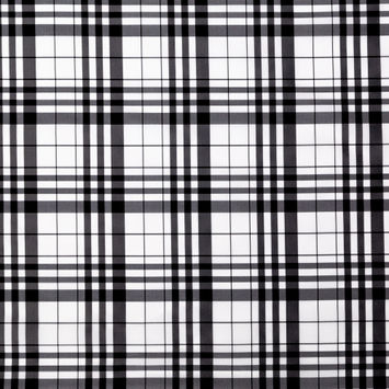 Tanya Taylor Black and White Plaid Polyester Taffeta