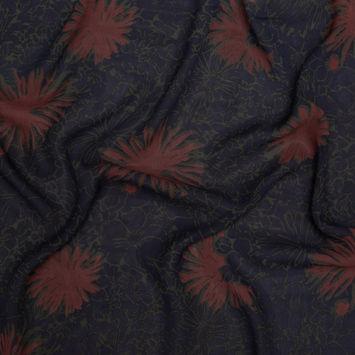 Theory Navy, Green and Maroon Floral Silk Chiffon