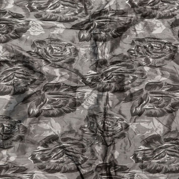 Gray and Silver Floral Wrinkled Jacquard