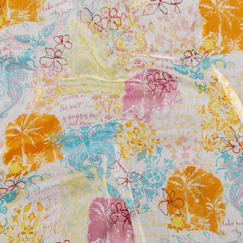 Orange, Pink and Blue Floral Crinkled Silk Chiffon