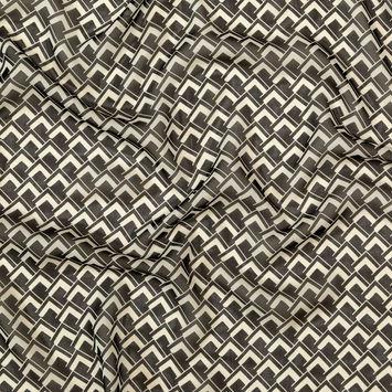 Ralph Lauren Black and Ivory Geometric Silk Chiffon