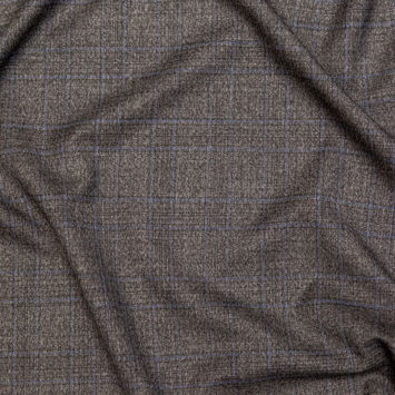Theory Gray and Blue Plaid Virgin Wool Suiting