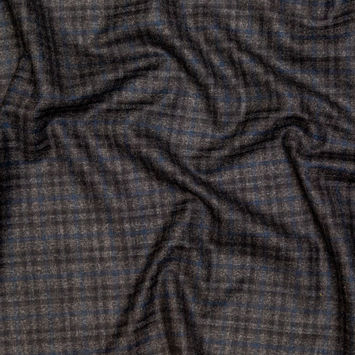 Theory Charcoal and Blue Plaid Virgin Wool Suiting