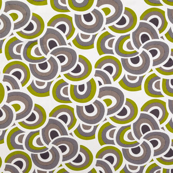 Grass Green and Gray Geometric Printed Cotton Twill