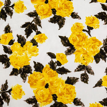 Painterly Yellow Roses Printed on Cotton Twill
