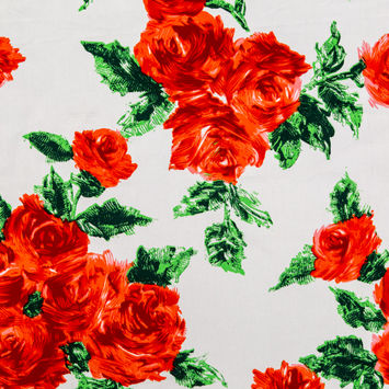 Painterly Red Roses Printed on Cotton Twill