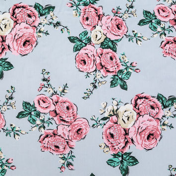 Sky Blue, Green and Pink Floral Cotton Twill