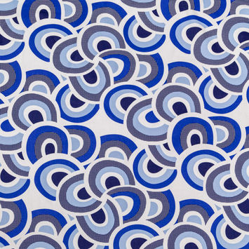 Blue and White Geometric Printed Cotton Twill