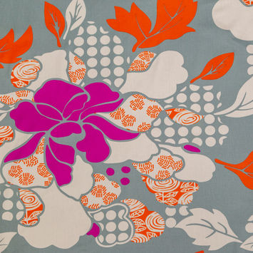 Jadeite and Bright Orange Floral Cotton Twill