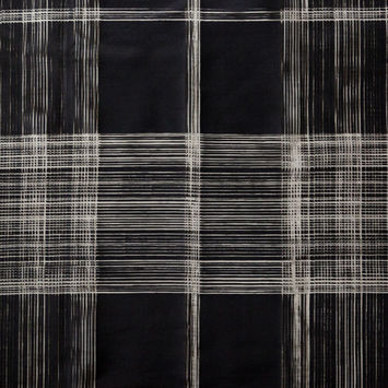 Black Plaid Burnout Cotton Twill