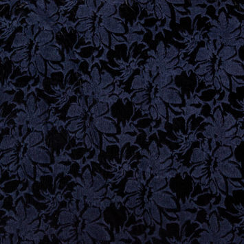 Navy and Black Floral Bonded Wool Knit and Velour