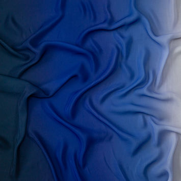 White and Blue Ombre Polyester Chiffon