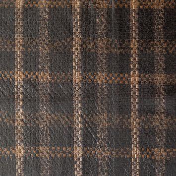 Brown and Beige Plaid Laminated Wool Tweed