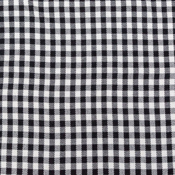 Black, White and Gray Shepherd's Check Wool Double Cloth