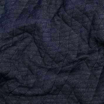 Denim Blue and White Diamond Quilted Cotton Knit with Filler
