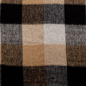 Large Scale Black and Beige Checkered Wool Woven