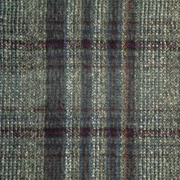 Mallard Blue Plaid Brushed Wool Woven
