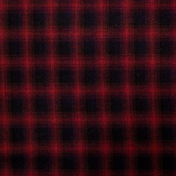 Red and Navy Tartan Plaid Wool Twill