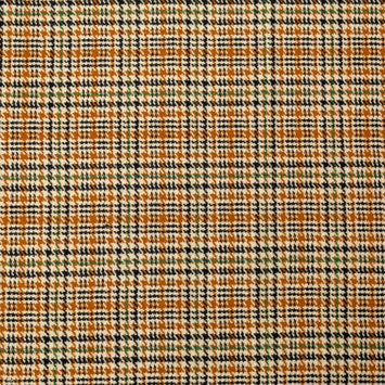 Brown, Beige and Green Houndstooth Plaid Wool Coating