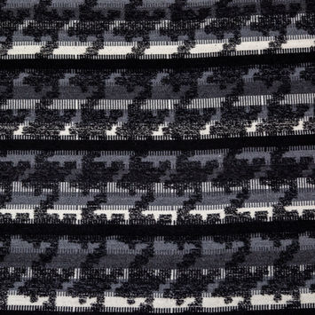 Black, White and Gray Stripe Houndstooth Woven Boucle