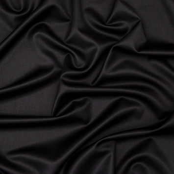 Radiant Black Wool Twill Suiting