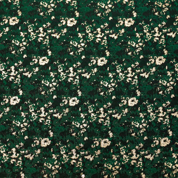 Forest Green and Metallic Gold Abstract Jacquard