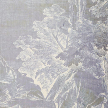 Purple and Ivory Abstract Landscape Silk Taffeta Panel