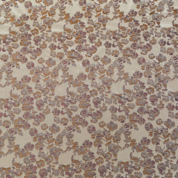 Beige and Metallic Bronze Floral Polyester Jacquard