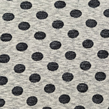 Metallic Black and Ivory Polka Dotted French Terry