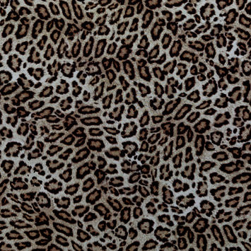 Beige and Brown Leopard Printed Polyester Chiffon