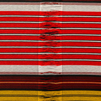 Red, Black and Yellow Striped Tweed with Loose Yarn Detailing