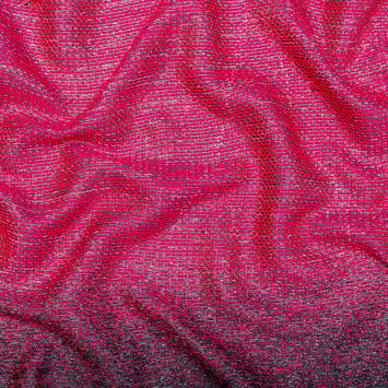 Raspberry Sorbet, Black and Metallic Silver Striped Woven