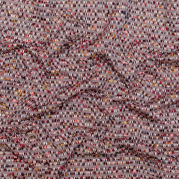 Burgundy and White Striped Cotton and Wool Tweed