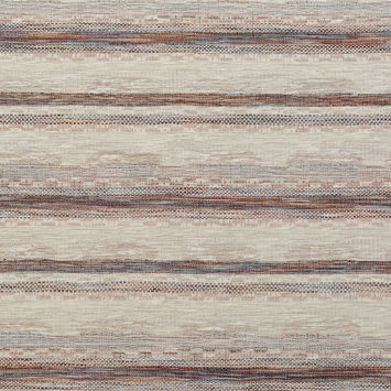Beige and Rust Striped Cotton Tweed