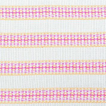 Magenta, Orange and Beige Awning Striped Cotton Tweed
