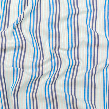 Navy, Cobalt and Baby Blue Striped Cotton Voile