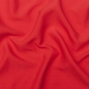Oscar de la Renta Red Silk and Wool Wrinkled Plisse with a Twill Back