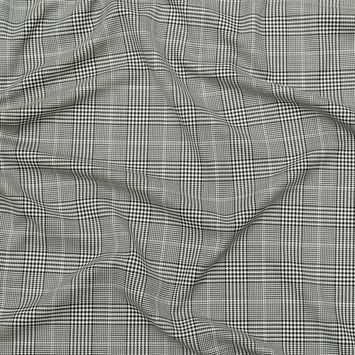 Italian Black and White Glen Plaid Wool Suiting