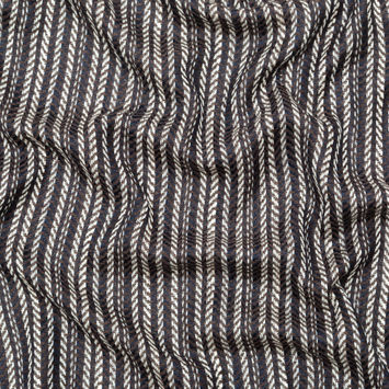 Brown Navy and White Striped Chevron Wool Woven