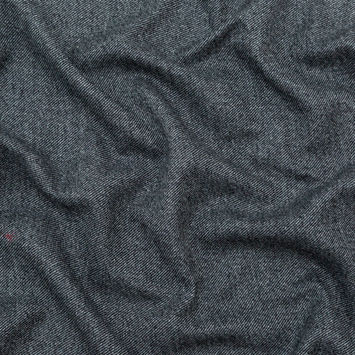 Italian Heathered Black and Gray Double Faced Wool Twill Coating