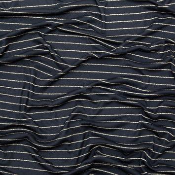 Black and Metallic Gold Striped Rib Knit