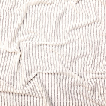 White Cotton Striped and Embroidered Crinkled Chiffon